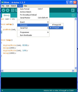 Selecting Processors in Arduino IDE