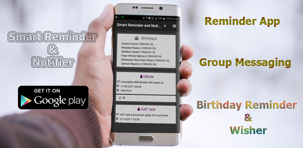reminder app, group texting and birthday wisher