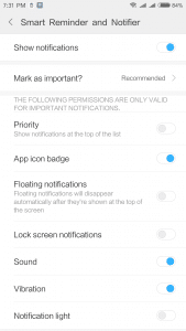 Notification settings for Smart Reminder and Notifier