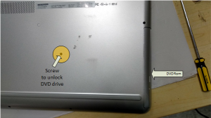 remove screw to unlock DVD rom from laptop