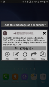 Automatic setting of reminder for expiry date of a certain package